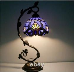 #1 Stained Glass Reading Lamp Table Light Blue Purple Desk Baroque Tiffany Style