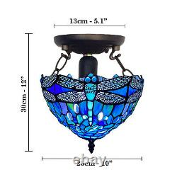 10 inch Tiffany Blue Dragonfly Ceiling Lamp Stained Glass Shade Antique Style