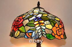 12W Flowers Stained Glass Handcrafted Table Desk Lamp, Zinc Base
