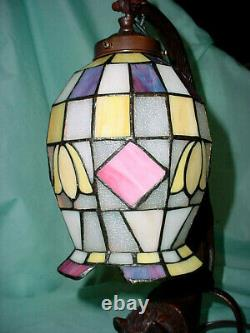 16 TIFFANY Style Wild Cat Art Stained Glass Table Desk Lamp Light Metal Bronze