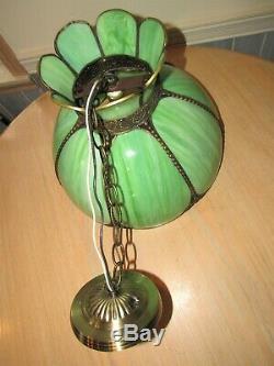 16 Vtg GREEN STAINED SLAG GLASS HANGING Lamp Tiffany Style Light Chandelier