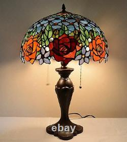 16W Rose Flower Jeweled Stained Glass Handcrafted Table Desk Lamp, Zinc Base