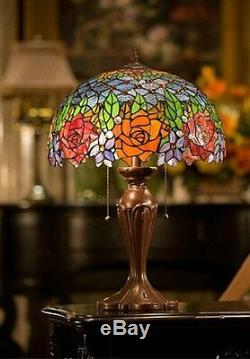 16W Roses Peony Jeweled Stained Glass HandcraftedTable Desk Lamp, Zinc Base