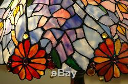 18W Flowers Stained Glass Handcrafted Jeweled Table Desk Lamp, Zinc Base