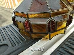 2 Matching VTG 60's MID CENTURY HANGING SWAG LIGHT LAMP CHAIN STAINED GLASS