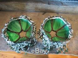 2 Vintage Antique Green Slag Stained Glass Lamp Shades with Original Beads