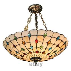 20'' Tiffany Style Chandelier Peacock Stained Glass Pendant Lamp Hanging Light