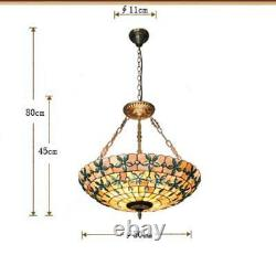 20Tiffany Style Stained Glass Pendant Lamp Handcrafted Drum Chandelier Light