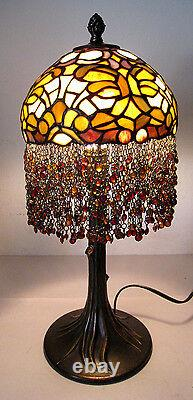 21 Vtg Tiffany Style Table Lamp Multi-Color Stained Glass Beaded Tree Trunk