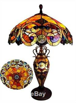 26 Tiffany Style Stained Glass Lighted Base Handcrafted Table Lamp 18 Shade