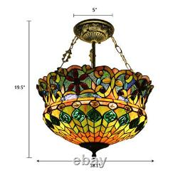 5-Light Retro Stained Glass Ceiling Light Tiffany Style Chandelier Pendant Lamp