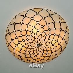 50cm Retro Tiffany Style Stained Glass Flush Mount Ceiling Lamp Light Fixture