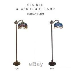 60.5H Victorian Fringed Stained Glass Beaded Umbrella Side Arm Floor Lamp
