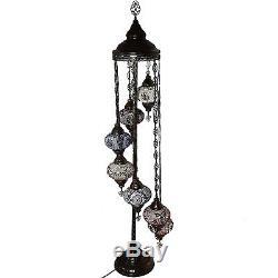 7 Ball MultiColour Turkish Moroccan Style Glass Floor Lamp Night Light Lamp