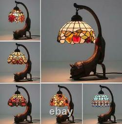 8 Vintage Tiffany Stained Glass Red Dragonfly Cat Flower Butterfly Table Lamp