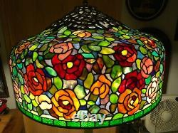 80 Round Huge Wisteria Tiffany Style Stained Glass Lamp Shade Laurelton Museum