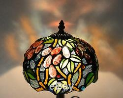 8W Grape Vine Stained Glass Handcrafted Table Desk Lamp, Zinc Base