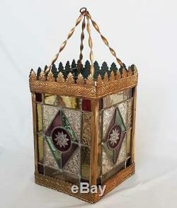 ANTIQUE LEADED STAINED GLASS LANTERN LAMP SHADE ceiling light chandelier vintage