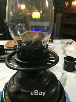 ANTIQUE ORIGINAL BRONZE STAINED GLASS E. M. DUPLEX&Co OIL LAMP HANDEL TIFFANY ERA