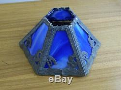 ANTIQUE VICTORIAN 6 PANEL blue STAINED SLAG GLASS LAMP SHADE read