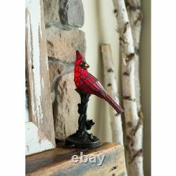 Accent Lamp Cardinal Stained Glass 13 in. Resin Bird Table Tree Trunk Base