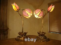Amazing Pair 2 Lights Antique Stained Slag Glass Tulip Lamp