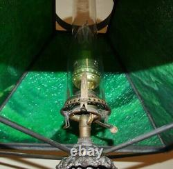 Antique 1920s Gas to Electric Table Lamp with Green Stained Slag Glass shade