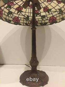 Antique American Mosaic Leaded Stained Glass Lamp with Pink Flowers