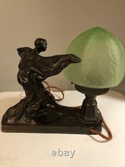 Antique Art Nouveau Dancer Lamp Semi Nude Frankart Art Deco Bronze 183