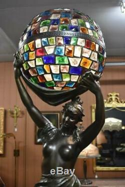 Antique Art Nouveau Figural Nude Stained Glass Newel Post Lamp 52