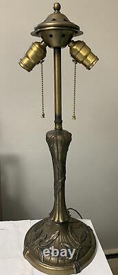 Antique Art Nouveau Table Lamp Base For Leaded Stained Slag Glass Shade