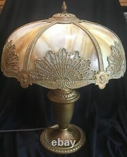 Antique Bent Slag Caramel Stained Glass Panel Overlay Table Lamp Miller B&H or