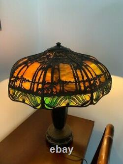 Antique Handel Overlay Stained Glass Lamp