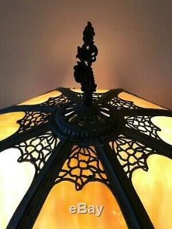 Antique Immaculate Empire of Chicago Lamp 16 Panel Leaded Stained Slag Glass