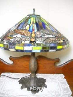 Antique Leaded Stained Glass Dragonfly Table Lamp Tiffany Style 20