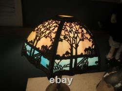 Antique Miller Lamp Co 6-Panel Bent Slag Stained Glass Metal Overlay Lamp Shade