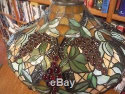 Antique Miller Lamp Co Stained Leaded Glass Lamp Bradley & Hubbard Handel Styles