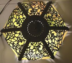 Antique Rare GEM Tiffany Style Slag Glass Stained Glass Lamp Shade Canopy Set Up