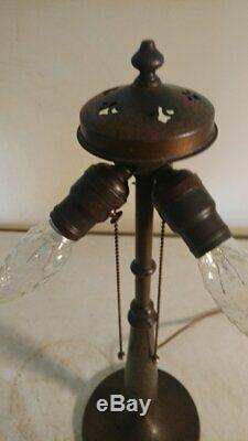 Antique Signed Handel 3 socket table Lamp for leaded/stained glass shade
