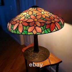 Antique Suess Poinsettia Leaded Slag Stained Glass Lamp Duffner Handel Tiffany