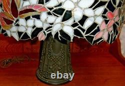 Antique Tiffany Style Leaded Stained Glass Butterfly Shade Table Lamp