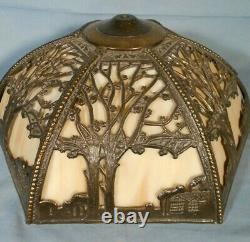 Antique Victorian Art Nouveau 6 Panel Stained Slag Glass Lamp Shade
