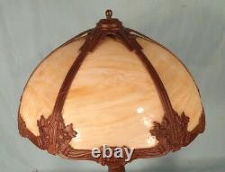 Antique Victorian Art Nouveau Caramel Stained Slag Glass 6 Panel Column Lamp