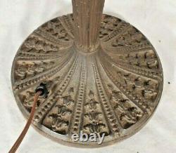 Antique Victorian Art Nouveau Stained Slag Glass Double Socket Lamp Base