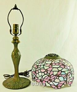 Antique/Vtg 10 Tiffany Style PINK IRIDESCENT Stained Glass Desk Table Lamp