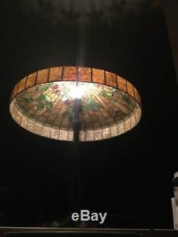 Antique Williamson Lamp Stained Glass Vintage Handel Tiffany Studios Era Bronze