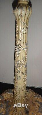 Antique leaded slag stained glass Miller lamp base