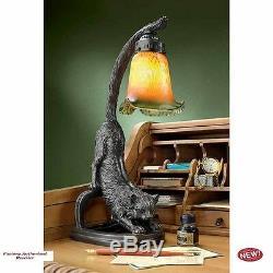 Art Deco Black Wild Cat 18 Desktop Sculptural Table Lamp
