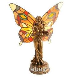 Art Deco Style Butterfly Angel Fairy Tiffany Stained Glass Table Lamp