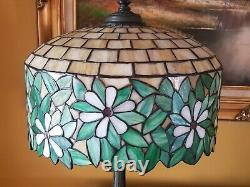 Art Nouveau, Arts & Crafts Wilkinson Leaded Slag Stained Glass Bronze Lamp